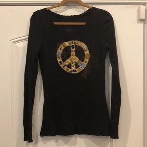 Lucky Peace Sign Long Sleeve Shirt